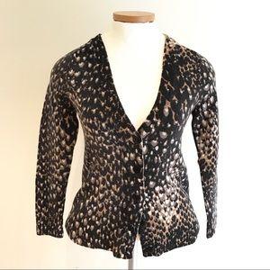 Trina Turk Leopard Print Merino Wool Cardigan